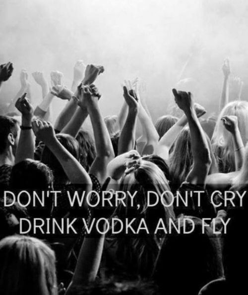 Dont Worry, Dont Cry, Drink Vodka And Fly Life Quotes Quotes Party Quote  Life No Worries (drunk Party Funny)