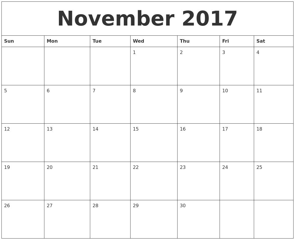 calendar 2017 november november