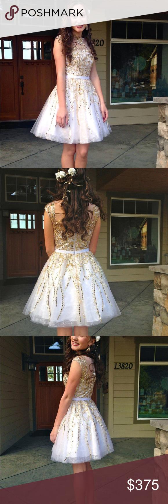 Sherri hill formal dress white u gold in my posh picks