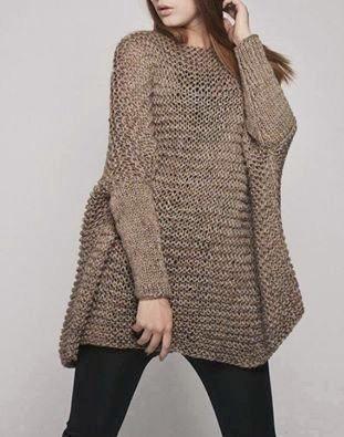 Pullover mujer largo para calzas tejido artesanal 2 agujas  02465f7759e4
