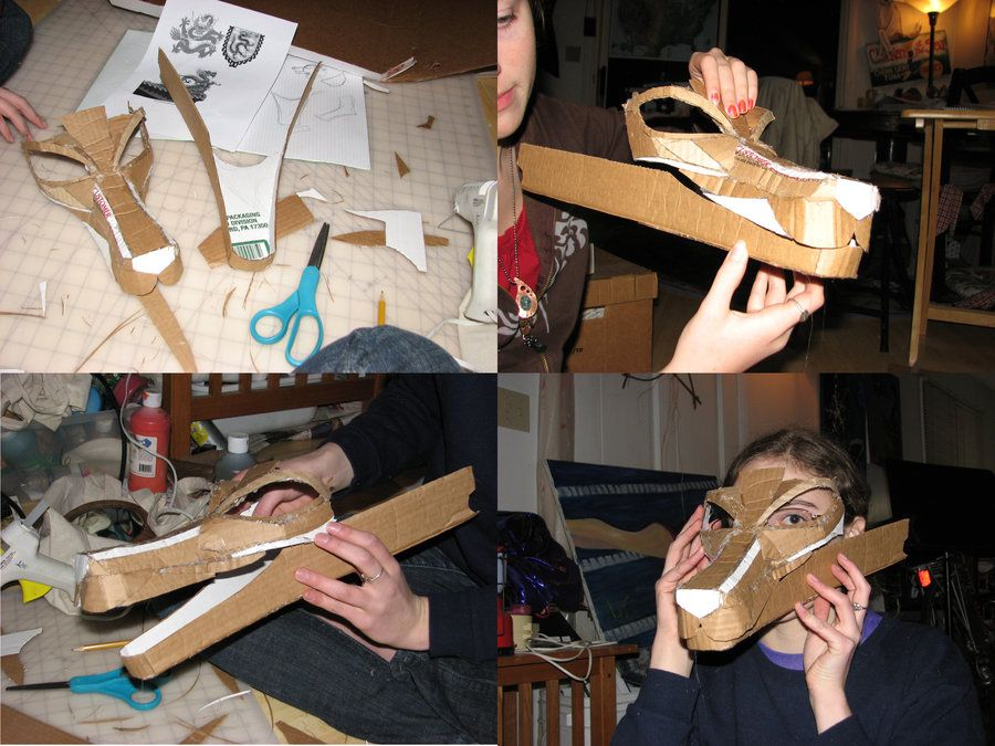 Cardboard Dragon Mask Wip By Wingedlioness On Deviantart