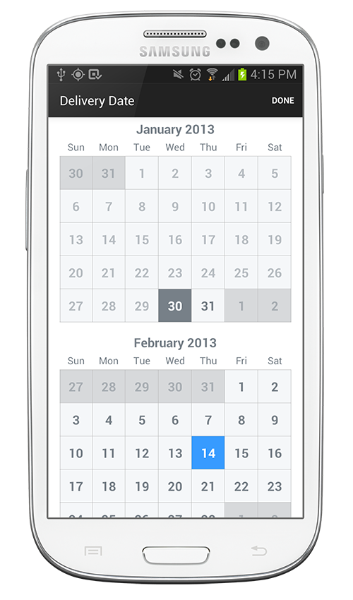 TimesSquare for Android: A standalone Android widget for picking a