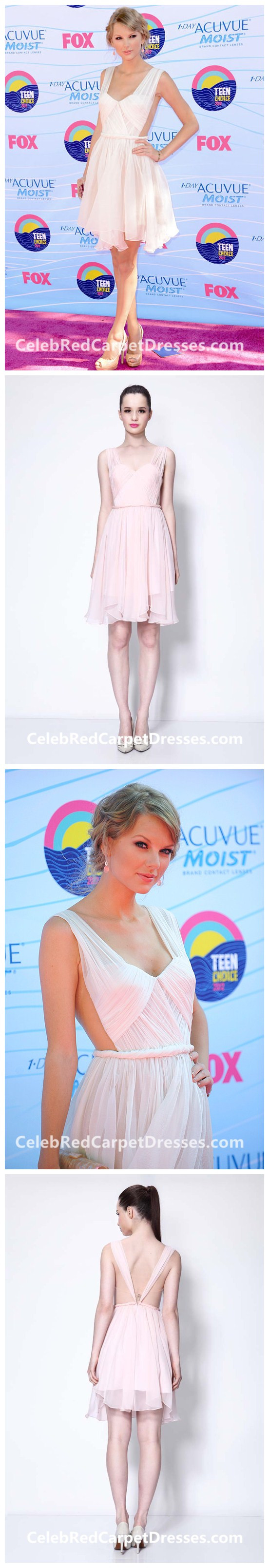 bf3fbb2686d Taylor Swift Short Pink Cocktail Party Dress Teen Choice Awards 2012 Red  Carpet