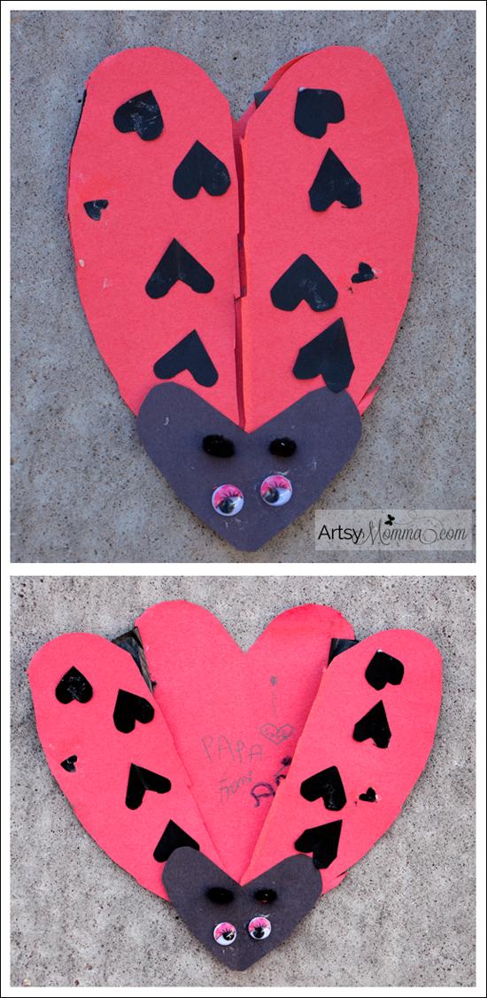 heartshaped ladybug card for valentine's day  valentines