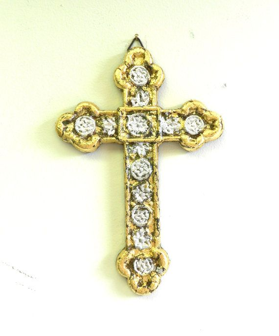This Home interior ,Unique wall Cross, Distressed Wall Hanging Gold ...