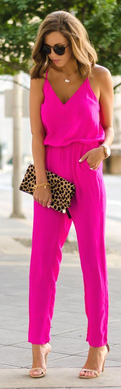 Neon Fuchsia Summer Jumpsuit