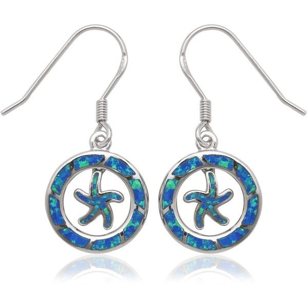 La Preciosa Sterling Silver Blue Opal Starfish Circle Dangle Earrings ($32) ❤ liked on Polyvore featuring jewelry, earrings, blue, opal jewelry, opal earrings, clasp earrings, starfish earrings and sterling silver earrings