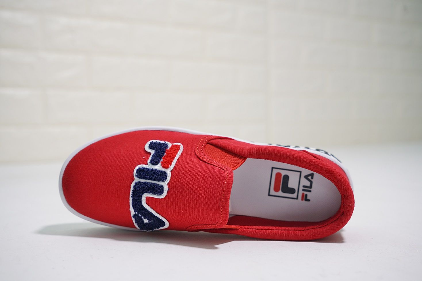 Fila Court Slip On Red dark blue white Women's Canvas Shoes