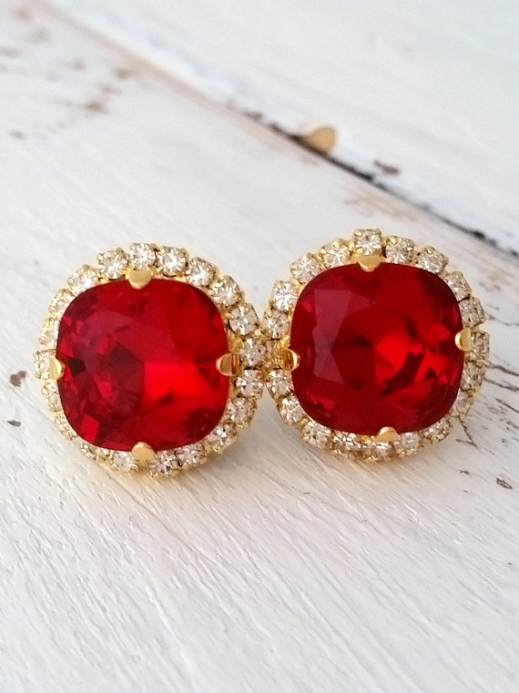 338a3ce32 Red earrings | Red stud earrings | Red crystal earrings by EldorTinaJewelry  on Etsy | http