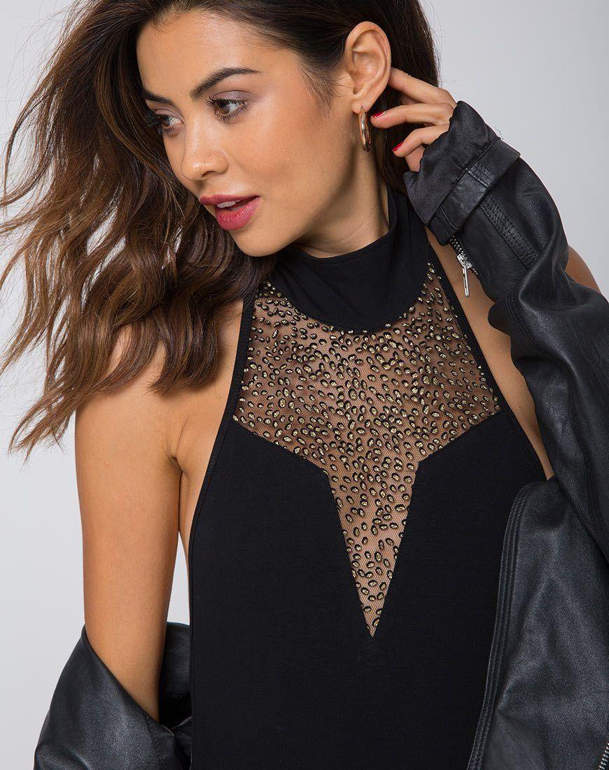 Motel myla high neck glitter bodice bodysuit myla and products