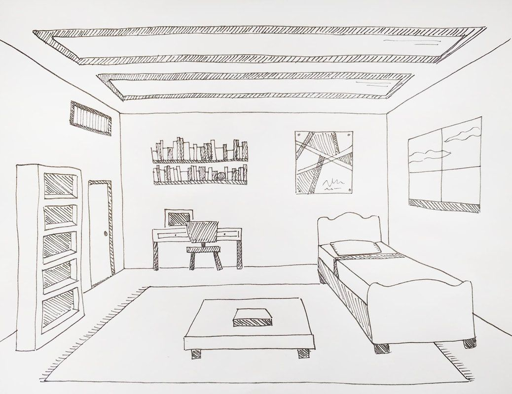 Drawing A Room Using One Point Perspective In 2019 Art