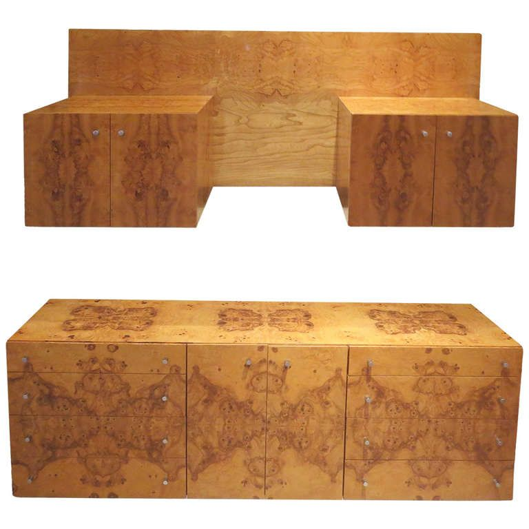 Complete Burled Wood Bedroom Set By Milo Baughman