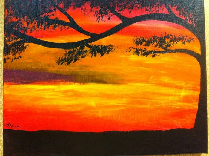 Easy Sunset Painting Sunset Painting Sunset Painting Easy