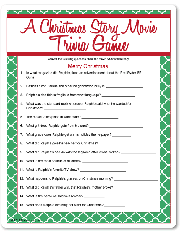 Fun Christmas Party Game Christmas Trivia Fun Christmas Party Games Christmas Story Movie