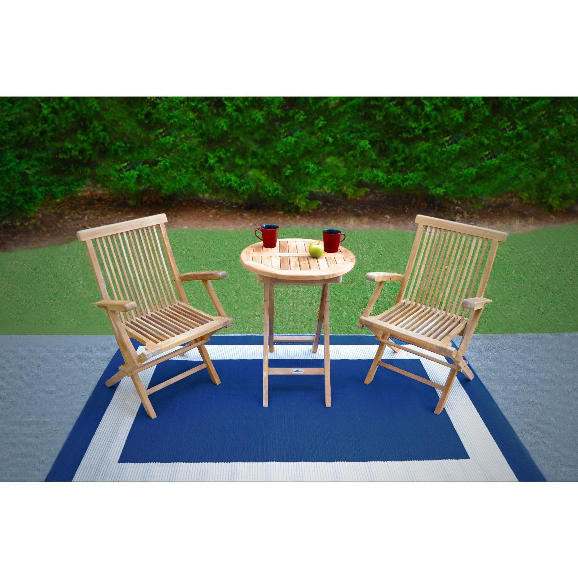 Tortuga Outdoor\'s Jakarta Teak 3-Piece Folding Bistro Set (Teak ...