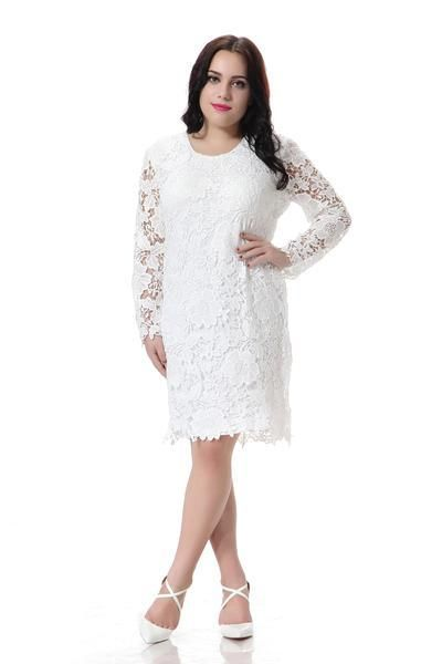 Plus Size Lace Dress Women White Party Dress Hollow Out Design Long