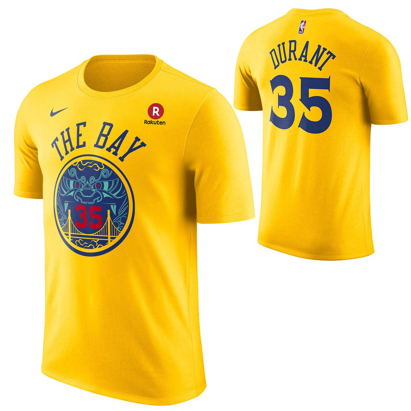 Golden State Warriors Nike Dri-FIT Men s City Edition Kevin Durant  35  Chinese Heritage Game Time Name   Number Tee - Gold da2cc7511