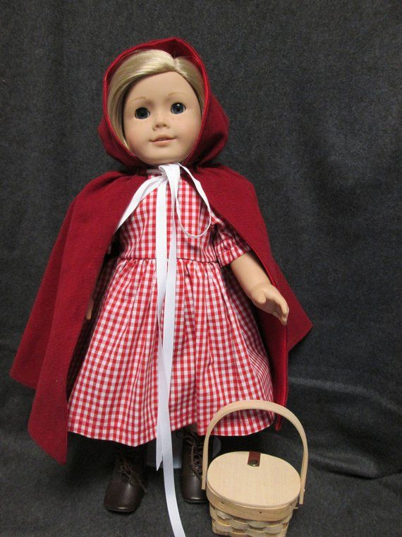 bb54c41f3d 18 Inch Doll Dress Red Riding Hood Dress and Cape Made To Fit American Girl