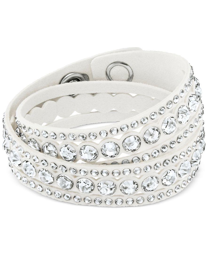 Swarovski Silver Tone Slake Pulse Crystal Wrap Bracelet