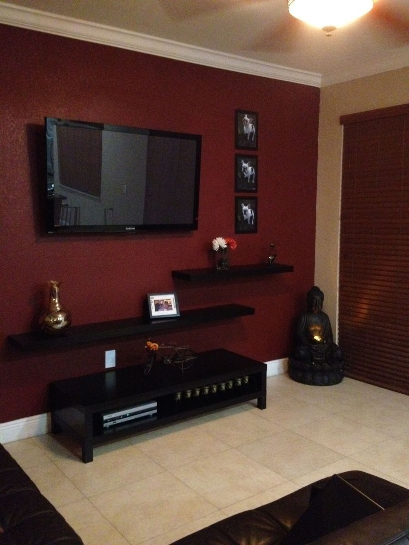 Wall Tv Place Ideas By Using Pallets As Material For Making It 10 Red Living Room Walls Tv Wall Design Living Room Red #red #accent #wall #living #room #ideas