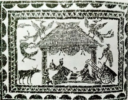 Han Dynasty (206BC - 220AD) architecture illustrated on Han brick painting