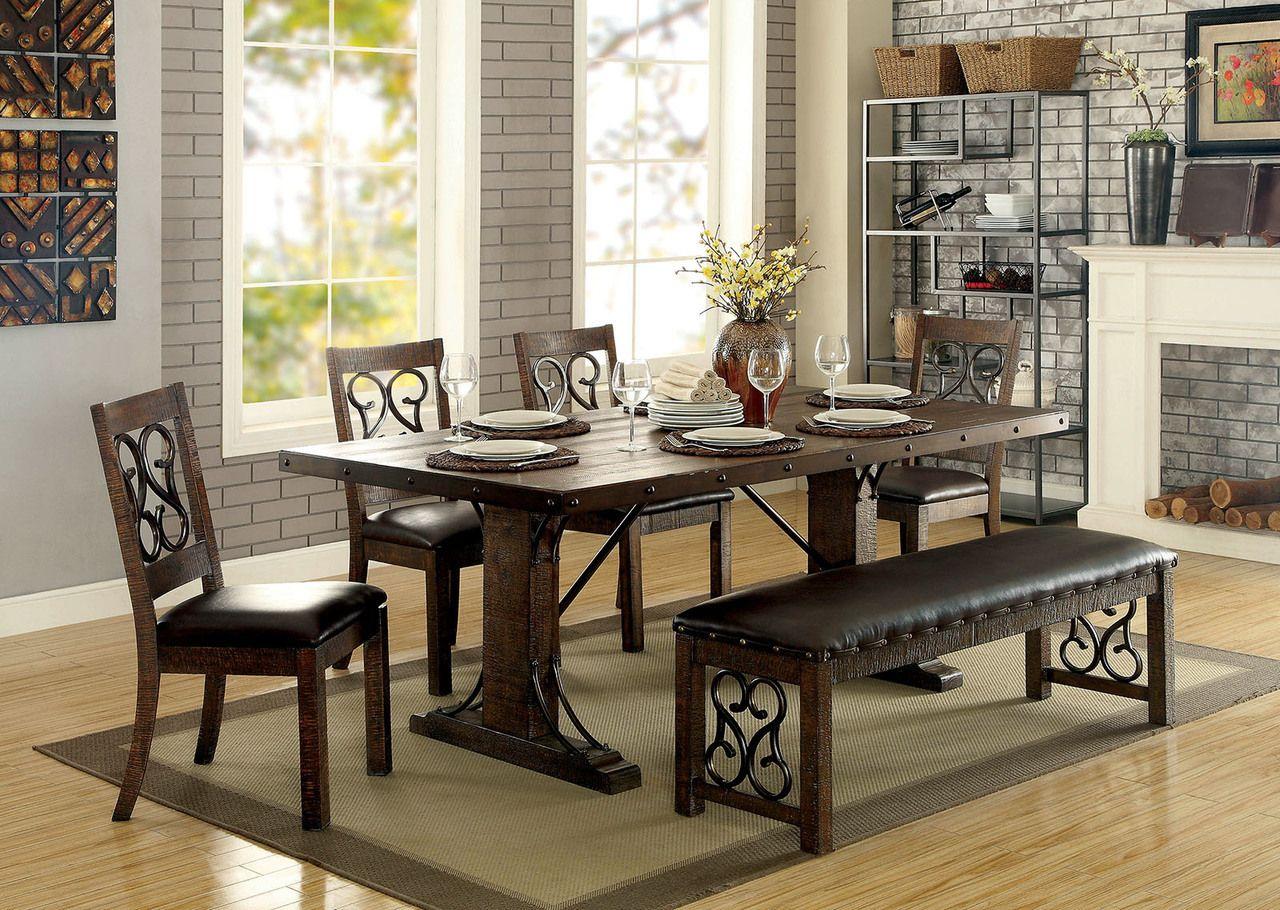 Superb Furniture Of America CM3465T Wood Metal Dining Set