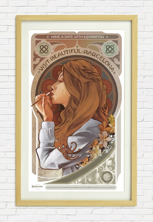 """""""Girl"""" by David Fernández (Inocuo Thesign). Escoda """"Inspired by Barcelona"""" 2014 poster collection. Very Mucha-esque."""