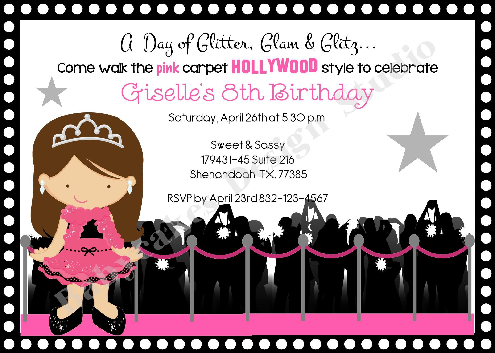 Hollywood diva birthday party invitation invite hollywood party ...