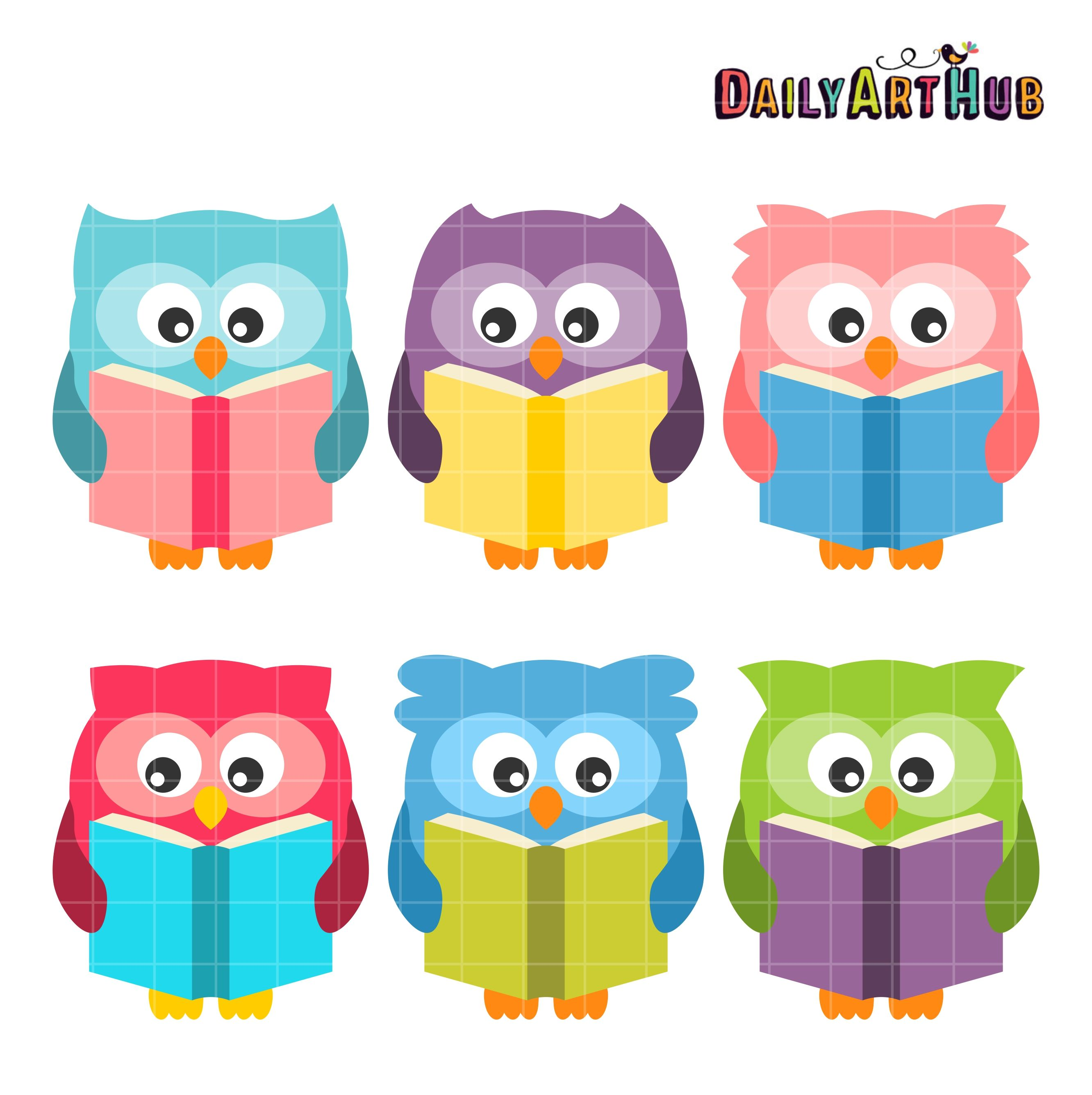 Reading Owls Clip Art Set Owl Clip Art