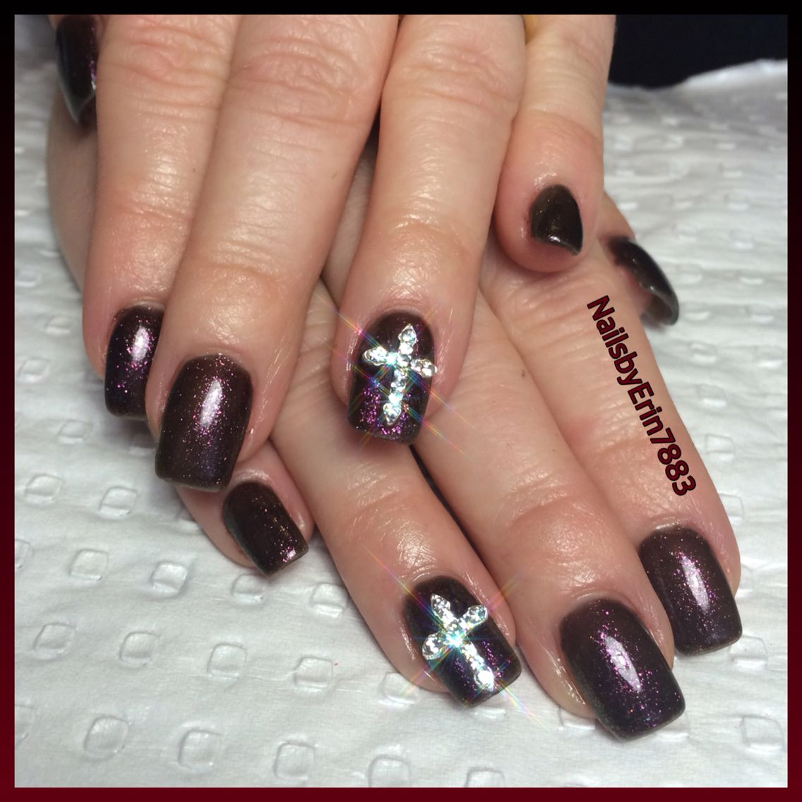 Dark purple and pink glitter gel polish with bling crosses acrylic ...