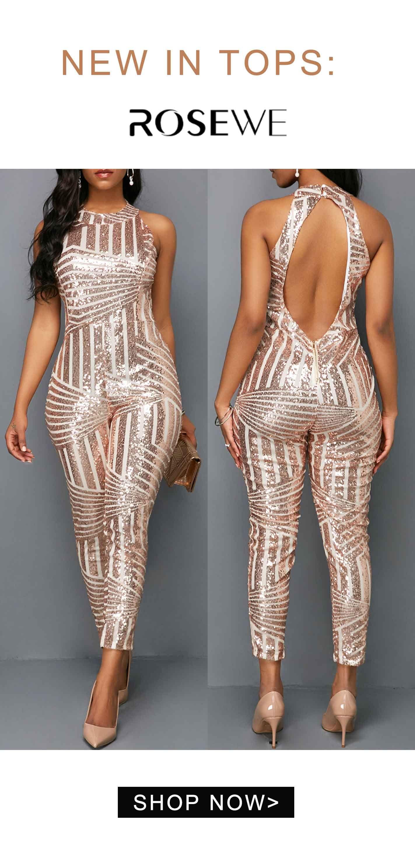 c749ad67f67f Pink Metallic Round Neck Sleeveless Skinny Jumpsuit