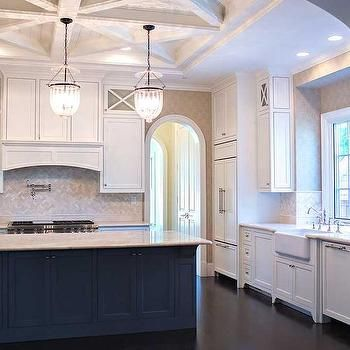 Crosscut Coffered Kitchen Ceiling, Transitional, Kitchen