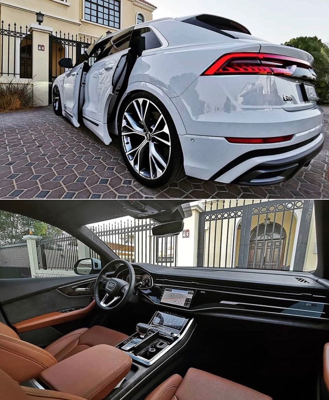 White Luxury Sports Car: Audi Q8 White Exterior Brown Interior Pecan Praline