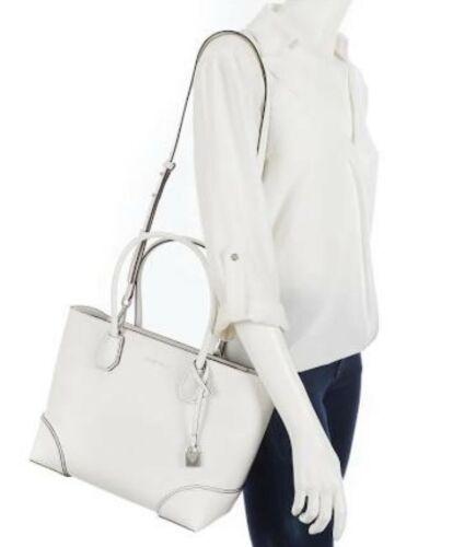 cf5e7708ae83 NWT Michael Kors $278 Mercer Gallery Medium EW TZ Leather Tote  Whites/Silver   eBay