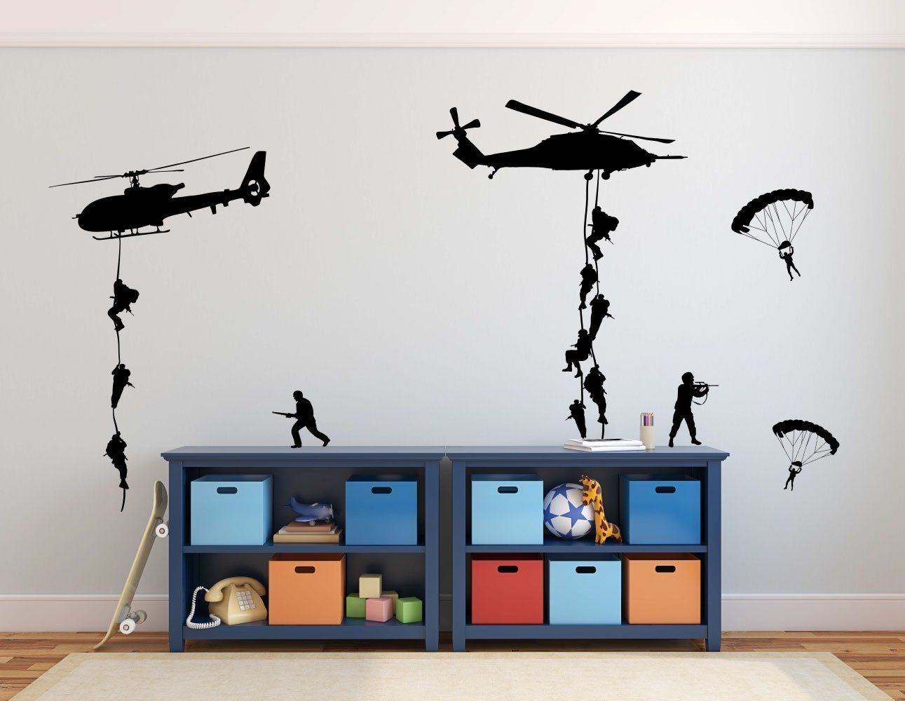 army wall decals soldiers parachuting from helicopters on wall stickers for kids id=13897