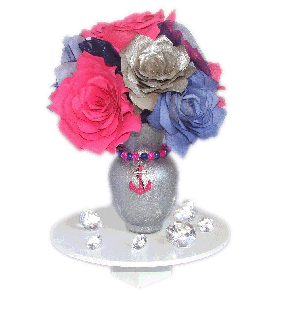 Hot pink navy blue and silver anchor vase centerpiece pink and a small shimmering silver curvy glass vase with navy blue silver and hot pink handmade coffee filter paper roses and navy blue organza reviewsmspy