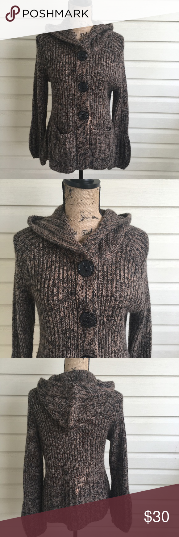 BCBGMAXAZRIA Button Up Hooded Sweater | Hooded sweater, Smoke free ...