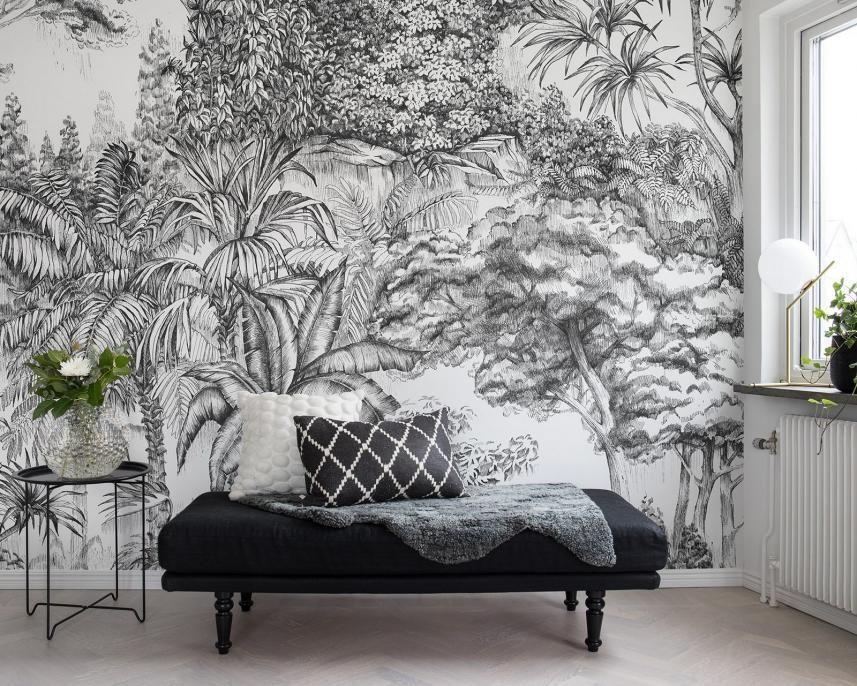 Fototapeta Scienna Czarno Bialy Las Sklep Styl Studio Wnetrz Jungle Wallpaper Jungle Wall Mural Wall Murals