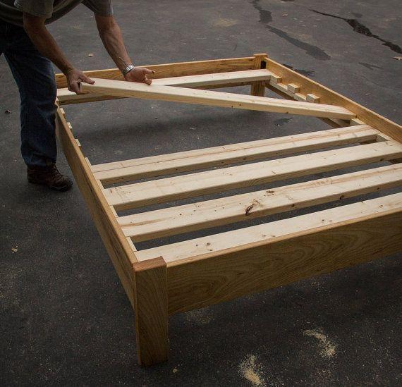 White Oak Simple Bed Platform Bed Frame Solid White Oak Hardwoods Slats Optional Diy Bed Frame Simple Bed Wood Bed Frame