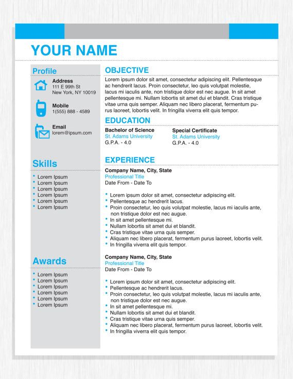 Professional Business Resume Template by OriginalResumeDesign - professional business resume templates