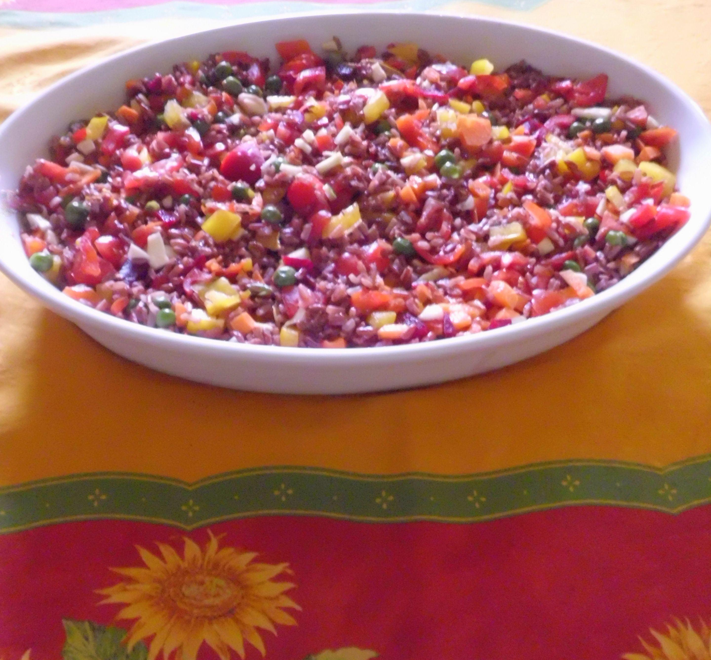 Riso freddo Arlecchino - con riso rosso tailandese (vegan)   ///  Arlequin Summer Red Rice  (vegan)
