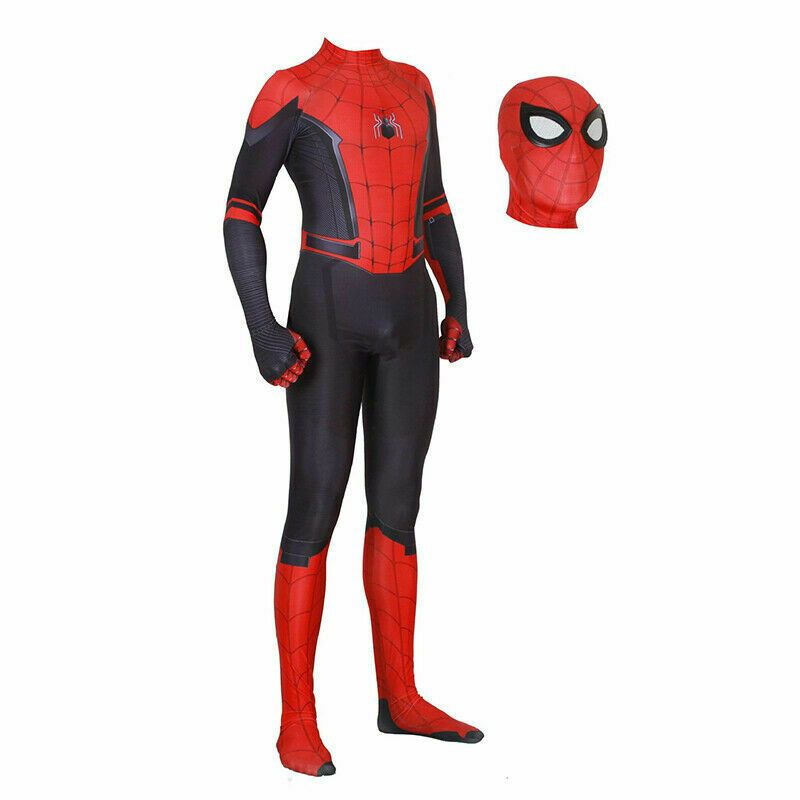 Spider-Man Far From Home Jumpsuit Spiderman Cosplay Costume For Kids /& Adult Cos