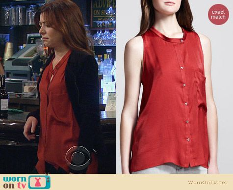 Lily's orange button front blouse on How I Met Your Mother. Outfit Details: http://wornontv.net/26199 #HowIMetYourMother #fashion #HIMYM