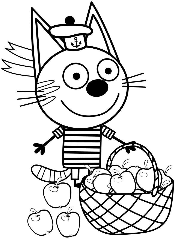 Коржик с яблоками - Три кота (с изображениями) | Раскраски ...