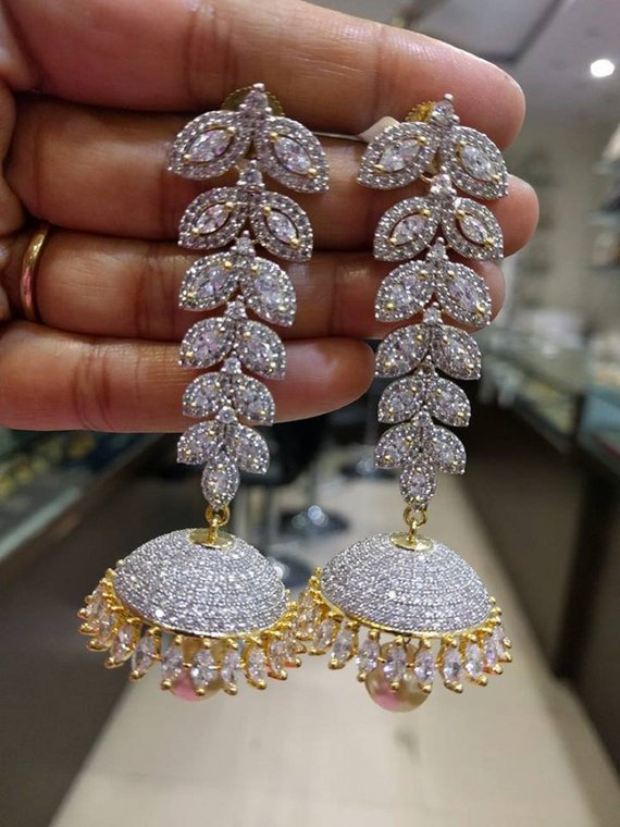 242c6bef1 Gorgeous Long Jhumkas/Earrings in White American Diamonds Stones (1gm Gold)  - Traditional & Fashion