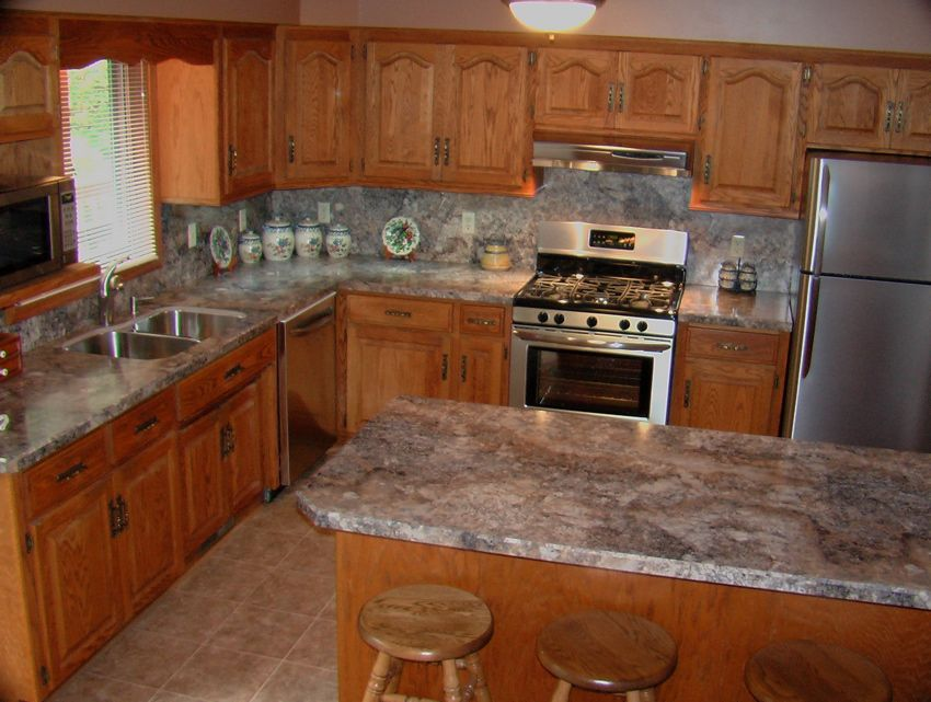 Inside Upstairs Oak Kitchen Cabinets Concrete Countertops Kitchen Oak Kitchen Furniture