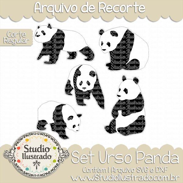 Panda Bear Set, Set Urso Panda, Teddy Bear, Urso Gato, Grizzly, Wild Animal, Animal Selvagem, Carnívoro, Carnivorous, Corte Regular, Regular Cut, Silhouette, DXF, SVG, PNG