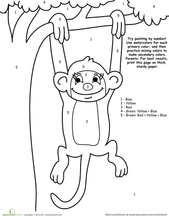 Watercolor Paint By Number Monkey Worksheet Education Com Monkey Coloring Pages Preschool Art Projects Kindergarten Colors