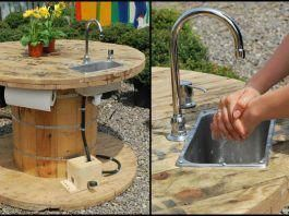 Turn a wooden cable spool into an outdoor kitchen or garden sink! #cocinasDeMadera #cablespooltables
