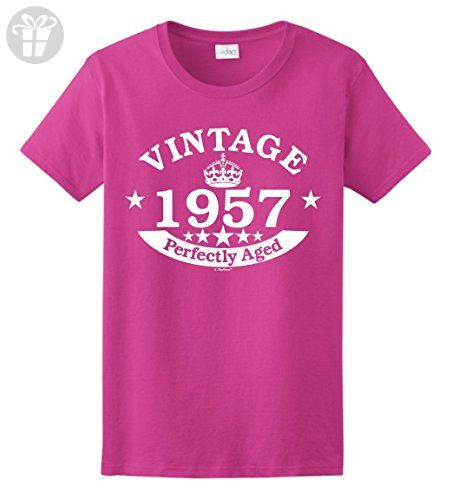 60th Birthday Decorations Gift Vintage 1957 Perfect Aged Crown Ladies T Shirt 2XL Heliconia